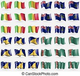 Mali, VirginIslandsUK, Tokelau, Turkmenistan Set of 36 flags...