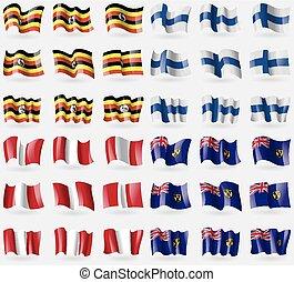 Uganda, Finland, Peru, Turks and Caicos Set of 36 flags of...