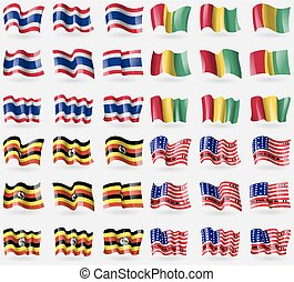 Thailand, Guinea, Uganda, Bikini Atoll Set of 36 flags of...