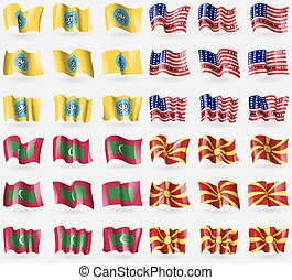 Kalmykia, Bikini Atoll, Maldives, Macedonia Set of 36 flags...