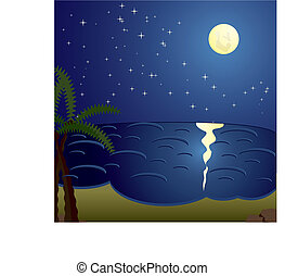 Vacation cards, night at the sea, vector illustration