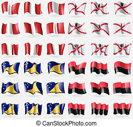 Peru, Jersey, Tokelau, UPA Set of 36 flags of the countries...