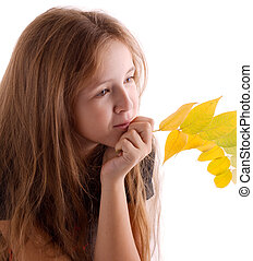 girl with branchlet - Girl with autumn branchlet. Isolated...