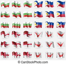 Bulgaria, Philippines, Sark, Easter Rapa Nui Set of 36 flags...