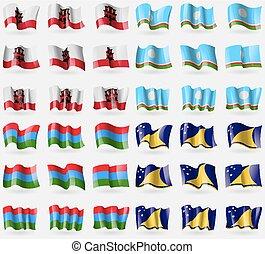 Gibraltar, Sakha Republic, Karelia, Tokelau Set of 36 flags...