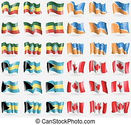 Ethiopia, Tierra del Fuego Province, Bahamas, Canada. Set of 36 flags of the countries of the world. Vector