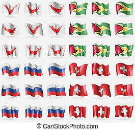 Easter Rapa Nui, Guyana, Russia, Switzerland Set of 36 flags...