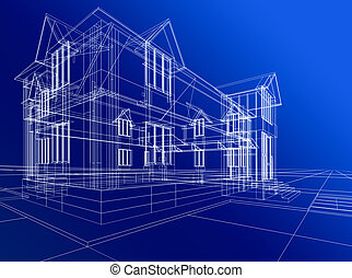 wire-frame of cottage - 3D rendering wire-frame of house....