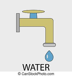Icon water supply Faucet and drop, tap and pipe, drip and...