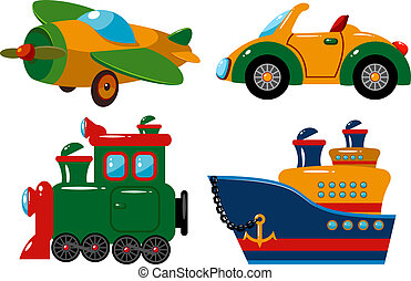 Set of vehicles: plane, car, train and ship Over white EPS...