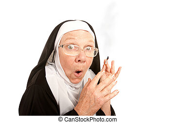 Funny Nun Caught Smoking - Funny nun suprirsed holding a lit...