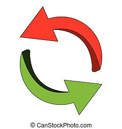 Arrow symbol, red, green icon clipart cycle business concept. Vector illustration isolated on white background.