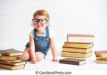 わずかしか, 本, 子供, 女の子, 読書, ガラス