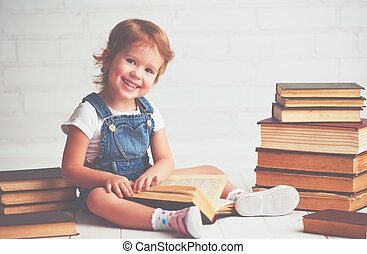 child little girl with books