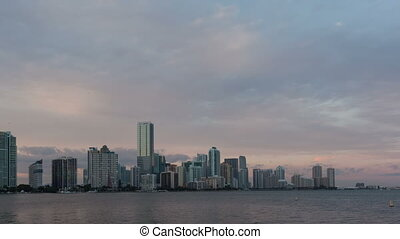 Time lapse Miami Skyline pan shot