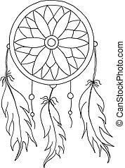 hand to draw a Dreamcatcher with beads and feathers of birds