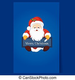 Christmas Santa Claus holding a Chalkboard Vector...