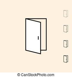 Vector icon of open door - Open door icon. Vector icon in...