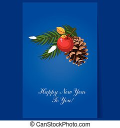 Christmas tree decoration pinecone greeting card with text...