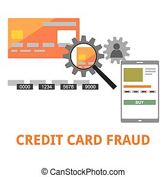 vector - credit card fraud - An illustration showing a...