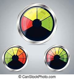 Rating meter design set of three on grayish background
