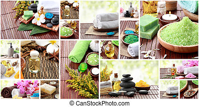 spa concept collage. soap and essensials spa objects - A...