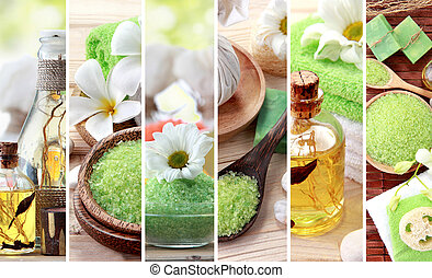 Green spa concept collage. soap and essensials spa objects -...
