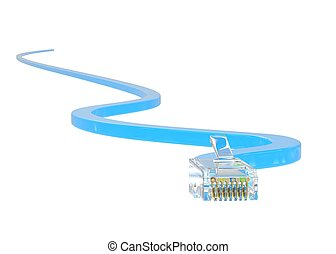 wire rj-45 on a white background, isolated