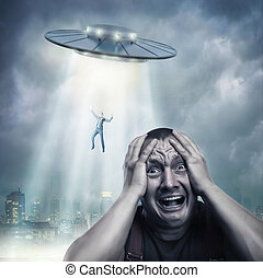 Adult man scared by UFO - Scared by UFO man screaming at...