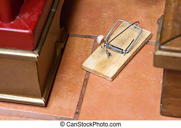Mousetrap on the floor waiting for rodent