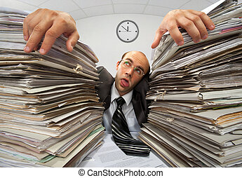 Exhausted businessman has had too much of his paperwork