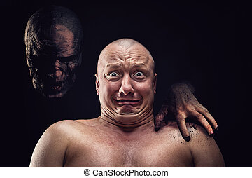 Portrait of bald scared man with nightmare