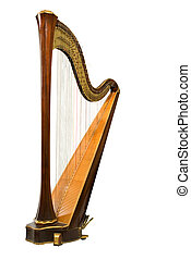Harp - classical musical instrument harp on a white...