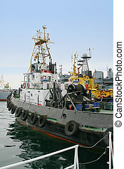 Tugboats in port Ready to work