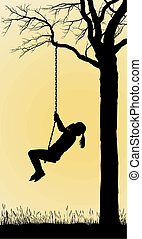 A Girl Swings On A Tree - Child rocking on the bench, hinged...