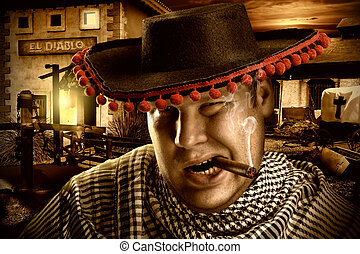 Serious cowboy mexican at night - Portrait of serious cowboy...