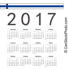 Square Finnish 2017 year vector calendar Week starts from...