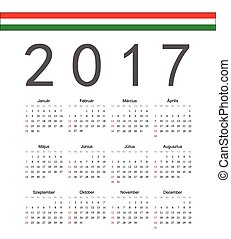 Square Hungarian 2017 year vector calendar. Week starts from...