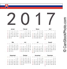 Square Slovak 2017 year vector calendar. Week starts from...