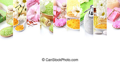 spa concept collage. soap and essensials spa objects -...