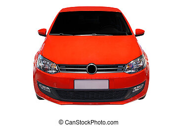 red car - front view of red car isolated