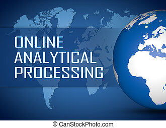 Online Analytical Processing concept with globe on blue...