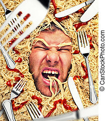 Man's face in pasta, closeup - Man eating pasta, dinner time