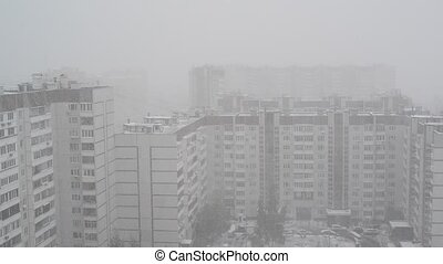 heavy snowfall in Moscow, Russia