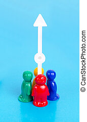 toy people and arrow pointing up - Growth concept Group of...