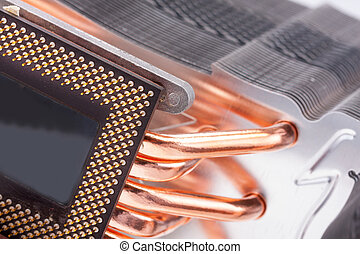 Computer processor cooler or radiator - Closeup of modern...