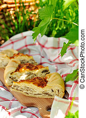 Quiche Lorraine with mushrooms, copy space for your text