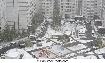 heavy snowfall in Moscow, Russia - a heavy snowfall in...