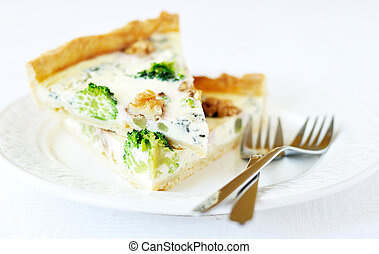 Broccoli, blue cheese and walnut pie - Two pieces of...