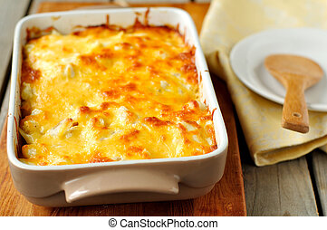 Cheesy bake - A baked casserole topped with melted cheese
